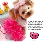 ชุดกระโปรงสุนัข layer แต่งลูกไม้ด้านหลัง สีชมพูเข้ม พร้อมส่ง