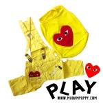 เสื้อหมา ชุดเอี๊ยมหมา PLAY สีเหลือง พร้อมส่ง