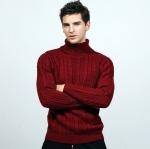 พร้อมส่ง เสื้อสเวตเตอร์ผู้ชาย สีแดง ไหมพรมคอเต่า ลายเคเบิ้ล แขนยาว ใส่กันหนาว แฟชั่นหน้าหนาวผู้ชาย