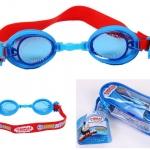 แว่นว่ายน้ำสำหรับเด็กลาย Thomas ฟ้าแดง สายซิลิโคนปรับขนาดได้ พร้อมที่อุดหู