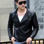 พรีออร์เดอร์ เสื้อแจ็คเก็ตหนัง PU เสื้อหนัง สีดำ คอตั้ง ซิปเฉียง แต่งบ่า ใส่ขี่มอเตอร์ไซค์ ใส่เป็นเสื้อคลุม ใส่เท่ ใส่สบาย