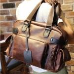 พร้อมส่ง กระเป๋าถือ กระเป๋าสะพาย กระเป๋าหนัง PU สีน้ำตาล มีสายสะพายไหล่ สายปรับขนาดได้ มีช่องเก็บของเยอะ จุของได้เยอะ