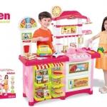 ชุดโต๊ะครัวช็อปปิ้งชุดใหญ่ king kitchen สีชมพู