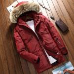 พร้อมส่ง เสื้อโค้ทขนเป็ดผู้ชาย สีแดง มีฮูด แต่งขนเฟอร์ หนา อุ่น ใส่ลุยหิมะ ใส่กันหนาว เสื้อโค้ทแฟชั่นผู้ชาย