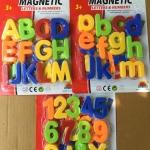 อักษร ABC ใหญ่ และ abc เล็ก ตัวเลข 0-9 และสัญลักษณ์ เป็นพลาสติก และมีอักษรด้านหลัง สามชุด