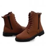 รองเท้าหุ้มข้อผู้ชาย พร้อมส่ง รองเท้าหนัง รองเท้าลุยหิมะ สีน้ำตาลอ่อน แบบผูกเชือก ด้านในบุขนสัตว์