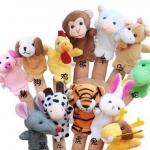 ตุ๊กตาหุ่นนิ้วมือ ผ้ากำมะหยี่เรียบนิ่ม แต่งรูปหน้าสัตว์ 12ชนิด