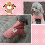 PRE เสื้อผ้าน้องหมา เสื้อน้องหมาสีชมพู ปักลายหมี มีฮูท