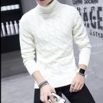 พรีออร์เดอร์ เสื้อไหมพรม คอเต่า สีขาว แขนยาว สเวตเตอร์ผู้ชาย ผ้านุ่ม ใส่กันหนาว ใส่ขึ้นดอย