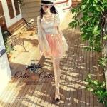 Lace striped pastel mini dress
