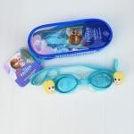 แว่นว่ายน้ำสำหรับเด็กลาย Frozen สายซิลิโคนปรับขนาดได้ พร้อมที่อุดหู