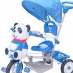 จักรยานสามล้อมีที่กั้นเด็กพร้อมร่มบังแดด แพนด้าสีฟ้า