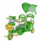 รถสามล้อเด็ก แบบนั่งสองคน เข็นได้ สีเขียว