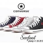 รองเท้าผ้าใบแบรนด์ CONVERSE ผูกเชือกสีโทนลายดาว