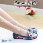 รองเท้าแฟชั่นคัทชูส้นแบนแต่งลายดอกไม้น่ารักมาก