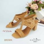 รองเท้าส้นสูงรัดข้อ ประดับหมุดทอง style VALENTINO