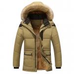 พร้อมส่ง เสื้อโค้ทผู้ชาย สีกากี มีฮู้ดแต่งขนเฟอร์ บุขนด้านใน แต่งหัวไหล่ ออกแบบเท่ห์ ใส่กันหนาว โค้ทกันหนาวผู้ชาย