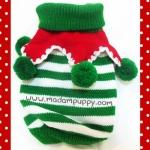 เสื้อน้องหมา ไหมพรมคริสมาสต์ สีเขียว-ขาว พร้อมส่ง