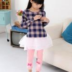 กางเกงเลกกิ้ง สีชมพู สกรีนยีราฟติดโบที่ขา size 100/120