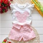 ชุดเสื้อ-กางเกง สกรีนมิกกี้ สีชมพู size 7