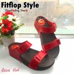 รองเท้าแฟชั่นสไตล์ fitflop ทรงสวมด้านหน้าแต่งเข็มขัด