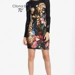 Cliona Made,Tiger Animal Print long Sleeve dress