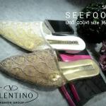 รองเท้า สไตล์ Valentino วัสดุผ้าลูกไม้วินเทจ หัวแหลม