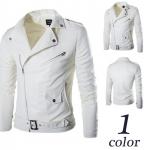 พรีออร์เดอร์ เสื้อแจ็คเก็ตหนัง PU เสื้อหนัง สีขาว คอปก ใส่ขี่มอเตอร์ไซค์ ใส่เป็นเสื้อคลุม ใส่เท่ ใส่สบาย