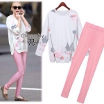 Cliona made,White Sweater Printing & Pink Skinny Set