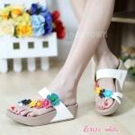 รองเท้าสไตล์ fitflop พื้นนิ่มแต่งดอกไม้ทรงเฉียงสวยน่ารัก