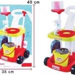 ของเล่นชุดอุปกรณ์ทำความสะอาดรถเข็นและเครื่องดูดฝุ่น เหมาะกับเด็กอายุ 3 ขวบ ขึ้นไป พลาสติกเป็น non toxic