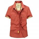 พร้อมส่ง เสื้อเซิ้ตผู้ชาย สีส้ม แขนสั้น คอปก แต่งสีตัดกับตัวเสื้อ เนื้อผ้าดี