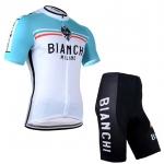 ชุดปั่นจักรยานแขนสั้นลายทีม BIANCHI S24 กางเกงเป้าเจล