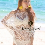 Creamy Beach&Sand Embroider Net Long Blouse by Seoul Secret