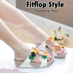 รองเท้าสไตล์ fitflop แต่งดอกไม้ด้านหน้าทรงสวมใส่กระชับเท้าพื้นนิ่ม