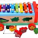 รถระนาดหยอดบล็อคสัตว์ มาพร้อมบล็อคหยอกรูปสัตว์ 6 ชิ้น และมีระนสดด้านบน พร้อมไม้ตี 2 อัน
