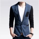 พร้อมส่ง เสื้อสูท ผู้ชาย สีน้ำเงิน แขนยาว กระดุมหน้าหนึ่งเม็ด แต่งกระเป๋าอกสีดำ แขนสีดำ สูทสีทูโทน