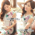 Lady Ribbon's Made Lady Verena Pastel Colorful Blooming Flowery Body Con Dress