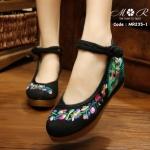 รองเท้าปักลายพัดแบบจีน พื้นเสริมซิลิโคนนิ่มเกรดเยี่ยม
