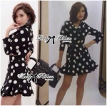 Lady Taylor Polka Dot Crop Jacket and Pleated Skirt Set