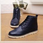 รองเท้าแฟชั่นผู้ชาย พรีออร์เดอร์ รองเท้าหนัง รองเท้าหุ้มข้อ สีน้ำเงินเข้ม ผูกเชือก ใส่เที่ยว ใส่ทำงาน ใส่ขี่มอเตอร์ไซด์