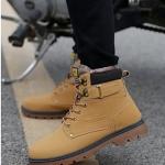 พร้อมส่ง รองเท้าหุ้มข้อ ผู้ชาย รองเท้าหนัง รองเท้าหุ้มข้อ สีเหลือง แบบผูกเชือก