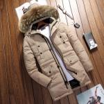 พร้อมส่ง เสื้อโค้ทขนเป็ด สีกากี แขนยาว มีฮูด แต่งขนเฟอร์ ใส่กันหนาว ใส่ลุยหิมะ เล่นสกีได้ โค้ทผู้ชาย
