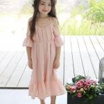 ชุดเดรสเด็กผู้หญิง สไตล์เกาหลี สีชมพูหวาน