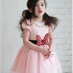 ชุดเดรสสีชมพู คาดโบมินนี่ที่เอว size 100