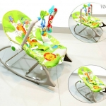 Ibaby เปลสั่นอัตโนมัติ และสามารถไกว เป็นเก้าอี้นั่งได้ (สีเขียว) ลายยีราฟ