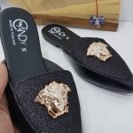 รองเท้าคัทชูส้นเตี้ยหัวแหลมเปิดส้นแต่งกลิตเตอร์ประดับอะไหล่เสือ style kenzo
