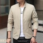 พร้อมส่ง เสื้อแจ็คเก็ต ผู้ชาย สีครีม เสื้อคลุม ซิปหน้า คอจีน ซับในพิมพ์ลาย กระเป๋าข้างใช้งานได้