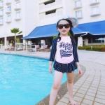 ชุดว่ายน้ำเด็ก เซท 2 ชิ้น แขนยาว สีชมพู-ดำ