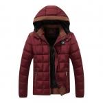 พรีอออร์เดอร์ แจ็คเก็ตกันหนาวผู้ชาย สีแดง มีฮูด บุนวม ด้านในบุกำมะหยี่กันหนาว ใส่ลุยหิมะ